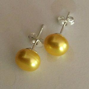Jewelry - 925 Natural Akoya Yellow Freshwater Pearl